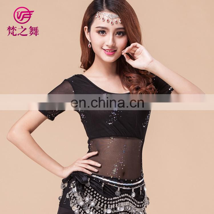 Fashion short sleeve bellydance top women belly dancing clothes professional water yarn belly dance costume top S-3074