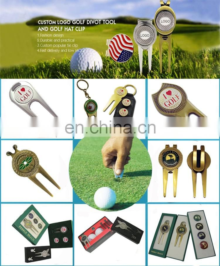 Metal magnetic switchblade promotion golf divot repair tool with golf ball marker