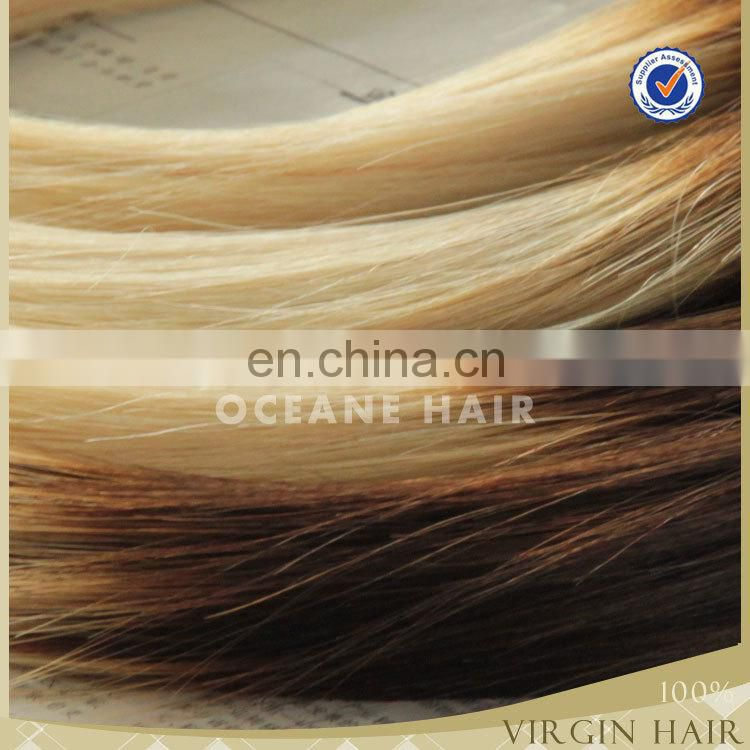 Top quality Brazilian human remy hair ombre two tone 40 inch blonde hair extension