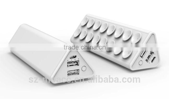 New Hot Real Capacity 10000mAh usb power bank with sucker and stand function for mobile and tablets