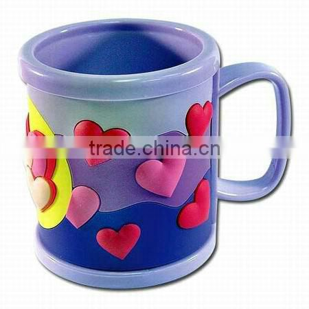 personalized plastic mugs for kids/3d personalized plastic mugs/plastic mugs with handle
