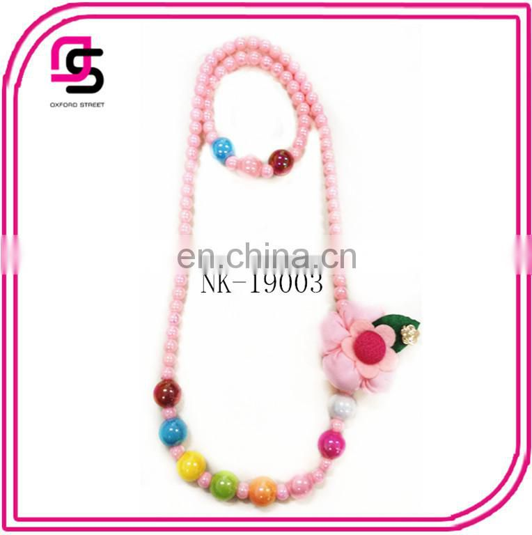 2015 Pearl Necklace And Bracelet Jewelry Set For Children