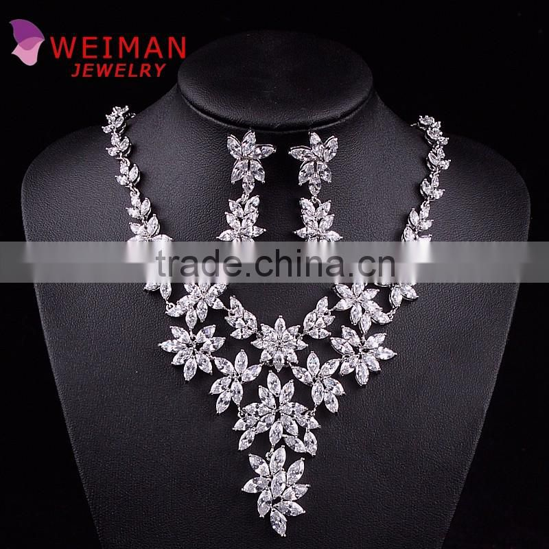 Luxury brillant AAA CZ Cubic Zirconia Flower Tennis necklace and earring set for Wedding Bridal Jewley