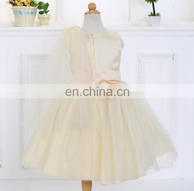 Champagne Flower Baby Girl Dress Puffy Petal Tulle Sleeveless Frock Princess Costume Christening Wear