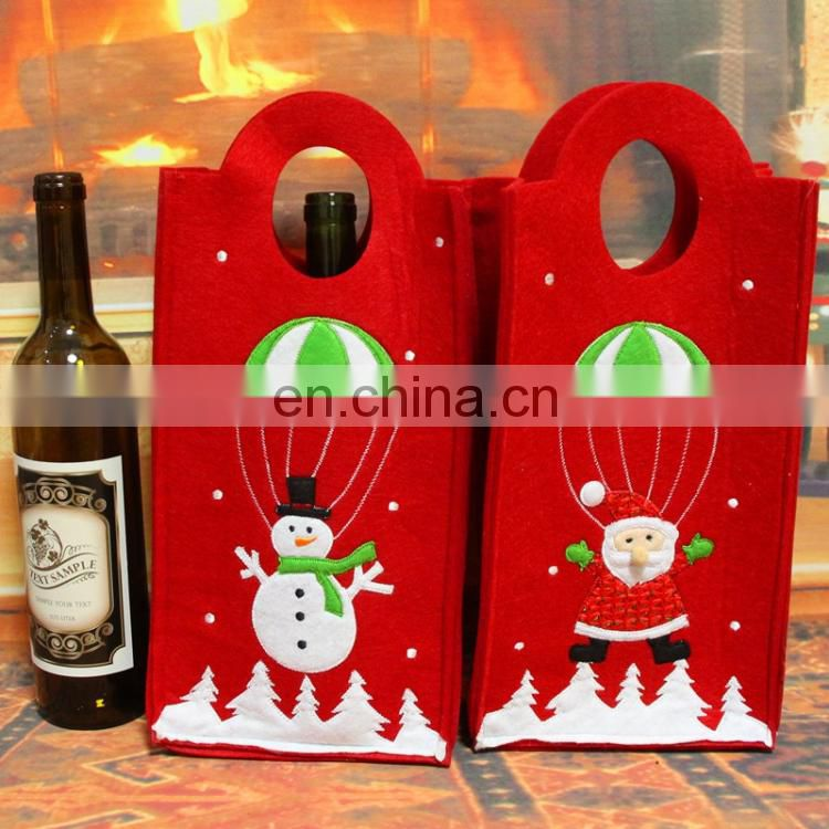 party decorations Christmas Embroidery Snowman Santa Verticle Type Wine Bottle Bag wholesale santa sacks