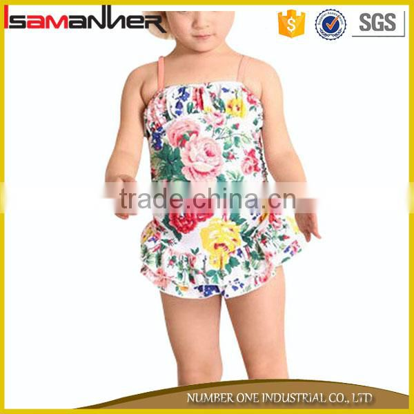 Cute little girl sling swimwear dress flower printing gilrs baby swimsuit                                                                                                         Supplier's Choice Image