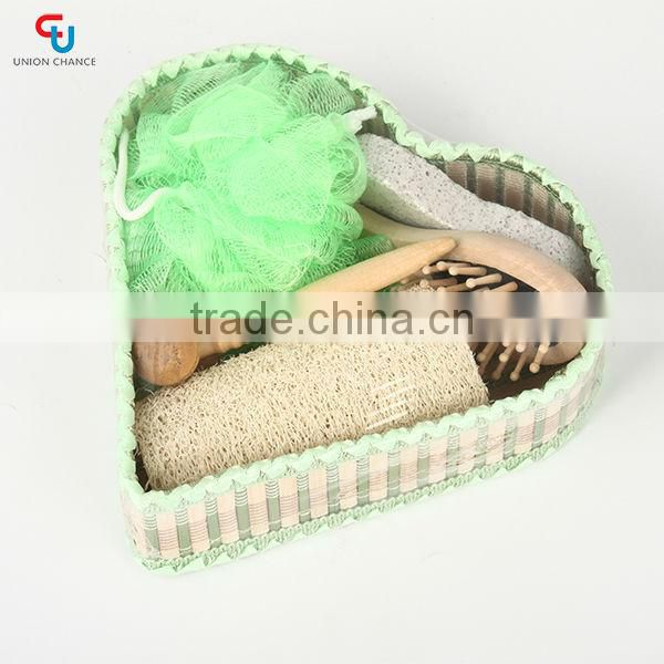 7pcs Heart Shape Basket Bath Towel Gift Set