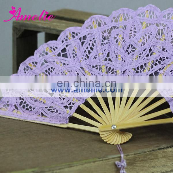 A-Fan056-27 Purple cotton lace wedding hand fan