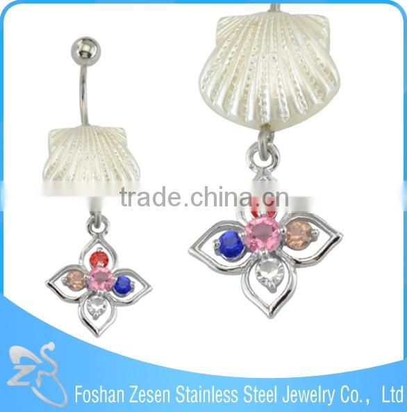 Multi-colour gems shells navel piercing stainless steel hypoallergenic hanging 14g belly ring