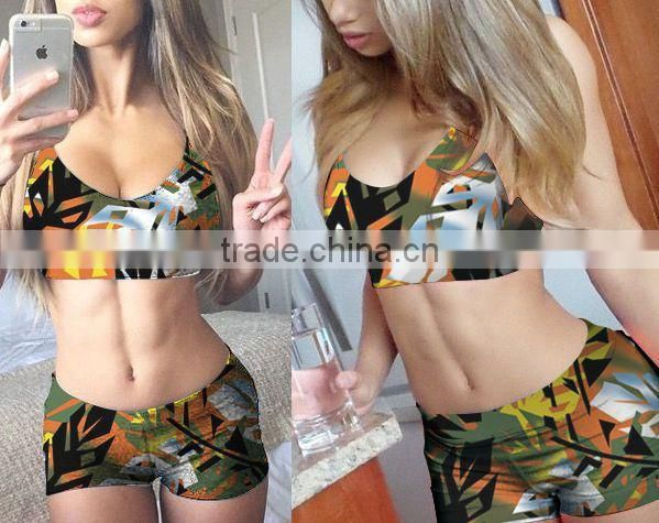 2015 new design sexy muslim women's swimwear colorful boxer shorts swimwear two-piece bikini swimwear wholesale