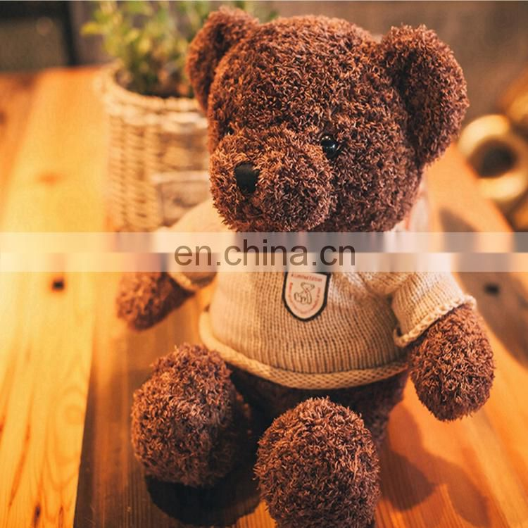 100% Polyester pp Cotton foam OEM brown plush stuffed teddy bear, custom teddy bear with sweater baby plush toys