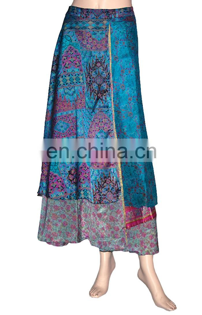 Silk Wrap Skirt Vintage Printed Sari Reversible Wrapskirt Sarong