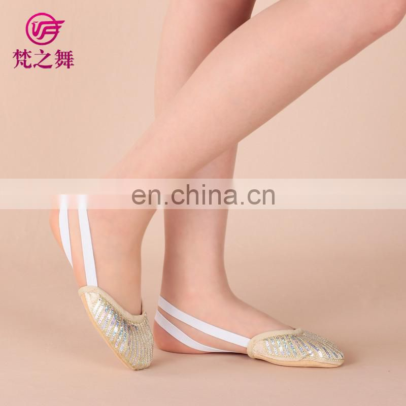 Shiny sequins half sole bellydance shoes adult, performance belly dance shoes, sequins ballet shoes X-8056
