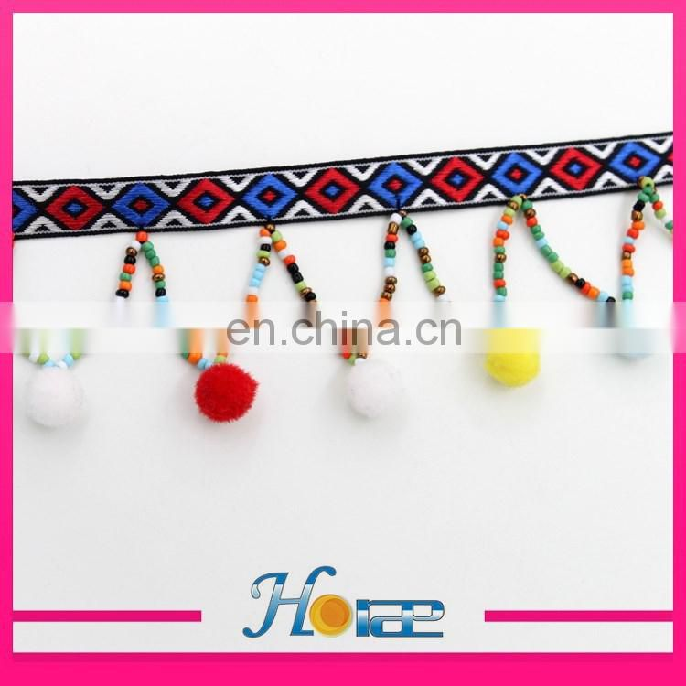 wholesale beaded tassel fringe trim indian pom pom trim for clothing