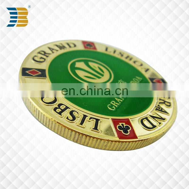 cheap custom enamel colored souvenir coin for grand Lisboa hotel