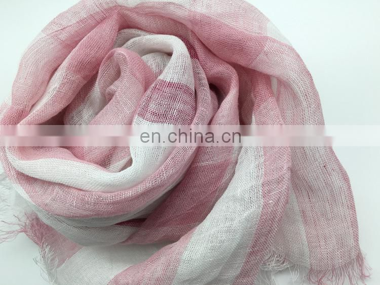 linen100% scarf fresh comfortable natural scarf good quality stripe scarf have 3color