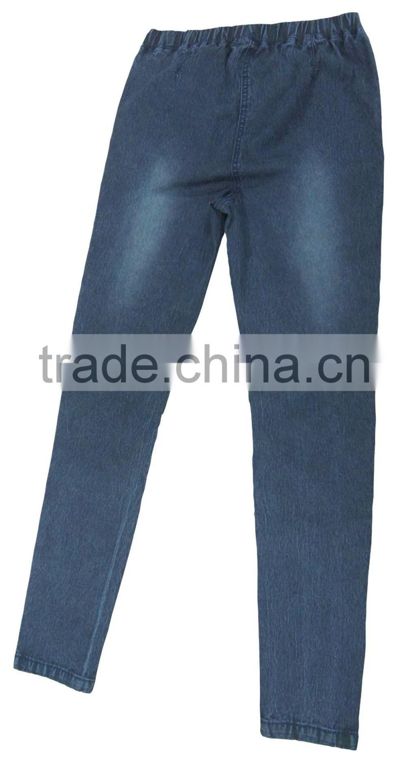 Hot sale basic design women elastic waistband push-in supper skinny jeans women blue stone wash strech leggings manufacturer