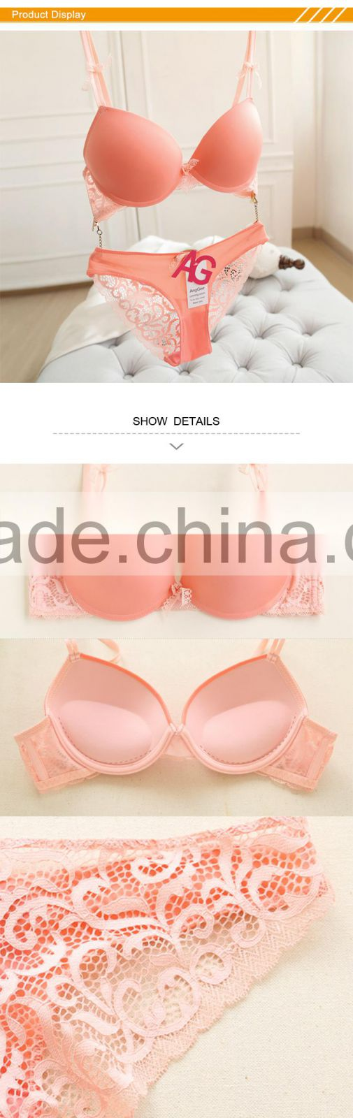 5264eac33b HSZ-5001 Wholesale High Quality Women Underwear Pink Sexy Fancy Bra Panty  Set for Women ...