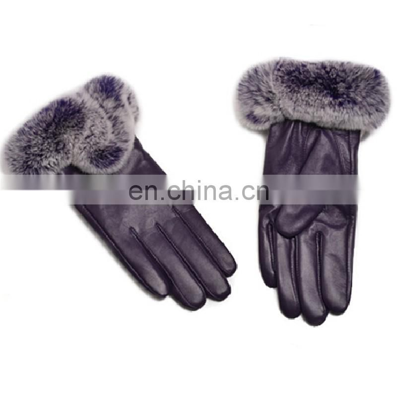 Wholesale top grade women fashion leather gloves with real rex rabbit fur