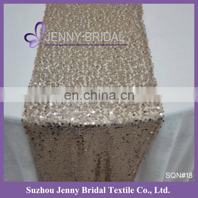 SQN#19 Jenny Bridal Champagne Sequin Wedding Table Runners
