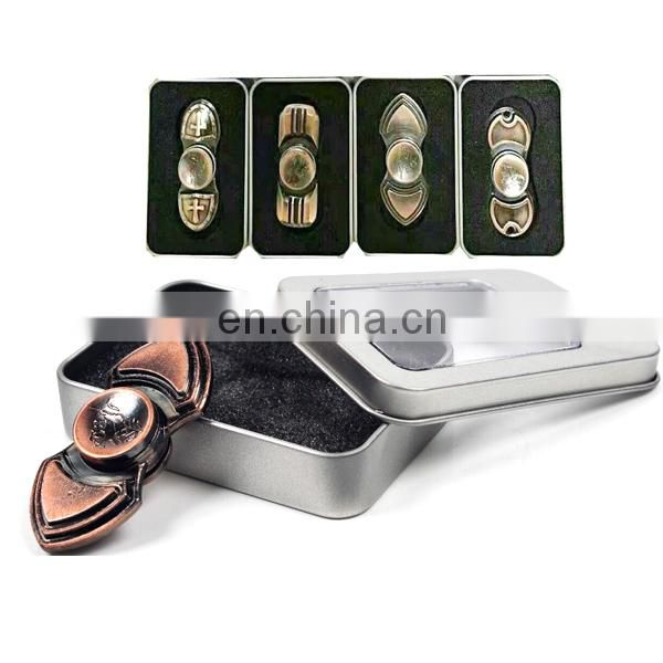 High quality novel design two bar hand metal spinning top toy