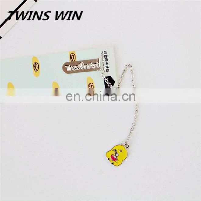 Factory Price stationery ODM custom cartoon cute animal shaped long chain design metal bookmarks for books
