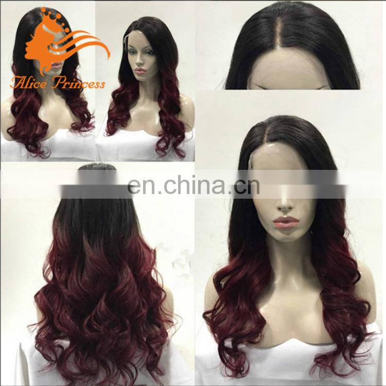 virgin indian remy full lace wig body wave two tone color 1b/99J lace wig 99j side part human hair full lace wigs