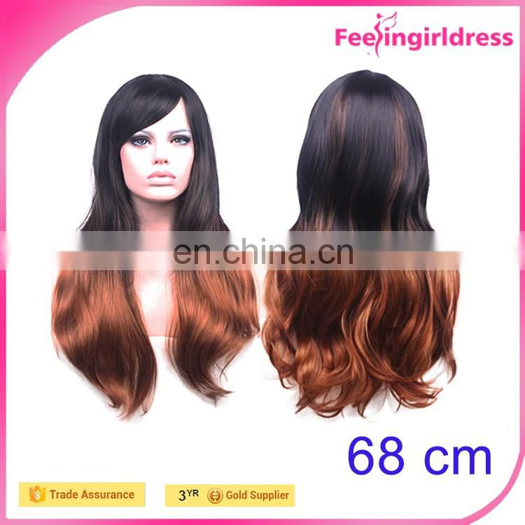 Long Beautiful Synthetic Red Wine Color Girls Sexy Human Hair Wig for sale
