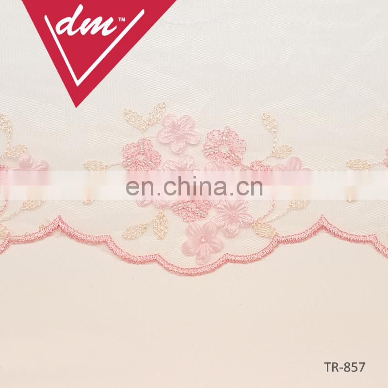 Pure pink flower gold thread embroidery lace