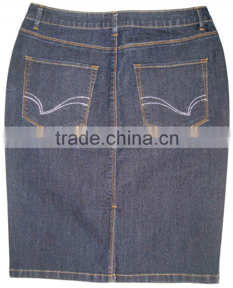 Women denim blue cotton strech 3/4 denim skirts ladies washed sexy denim skirts girls blue jeans