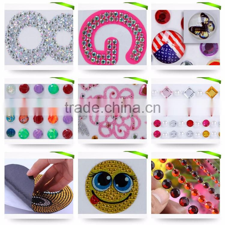 Colorful Self Adhesive Gems Custom Diamond Acrylic Rhinestone Sticker
