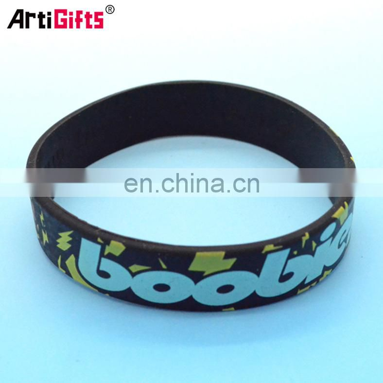 Wholesale black silicone rubber bracelets with free sample