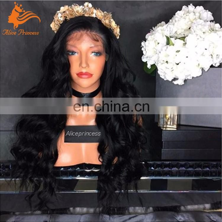 Popular Style Unprocessed Virgin Hair Lace Wig Natural Color Glueless Brazilian Human Hair Loose Wave Full Lace Wig
