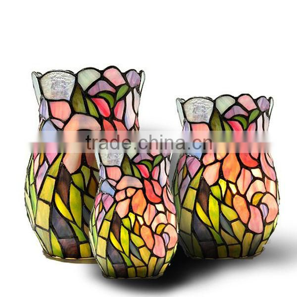 Wd130523 Tiffany Art Flower Stained Glass Vase Of Wedding From China