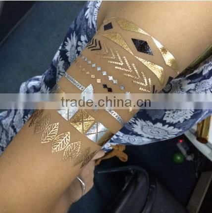 Metallic Gold Silver Black Jewelry Temporary Bling Tattoo All-In-One Package