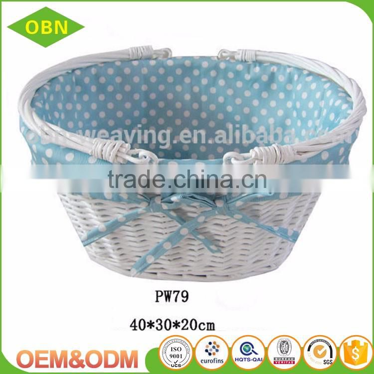 Customized cheap fancy woven white wicker basket for wedding decoration