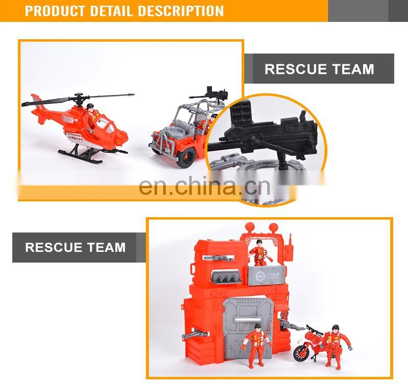 New Design Kids Free Wheel car Fire Fighting Truck Plastic Toy Fire Station toy set
