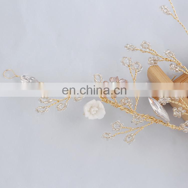 Wedding Headdress Hair Clip Transparent Small Bead Branches Headbands Rose Blossom Convertible Hair Vine Engagement Prom Jewelry