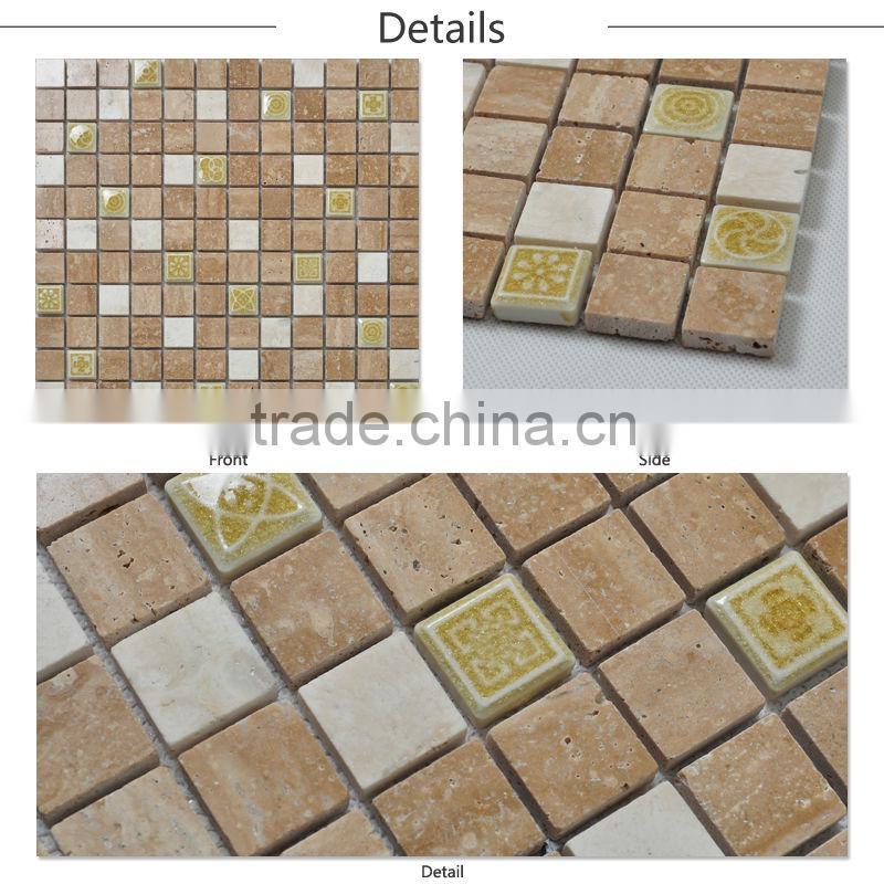 New Designed Square Natural Stone Look Ceramic Tile Porcelain Mosaic