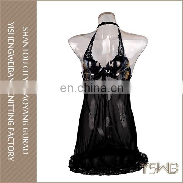 Good quality spandex black translucent lace mature women sexy nightgown