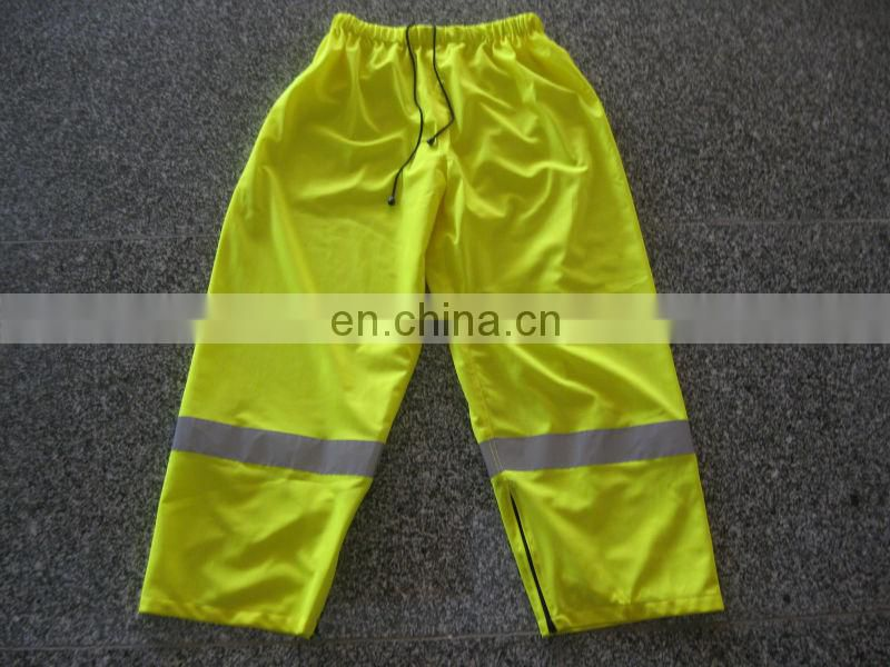 300D Oxford Hi-vis Safety Rain Pants with PU coating