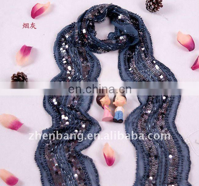 Jewellery Embroidered Long Silk Scarf