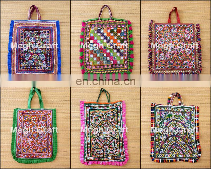 Indian Traditional cotton thread Theli bag - Vintage Kutch Embroidered Bag