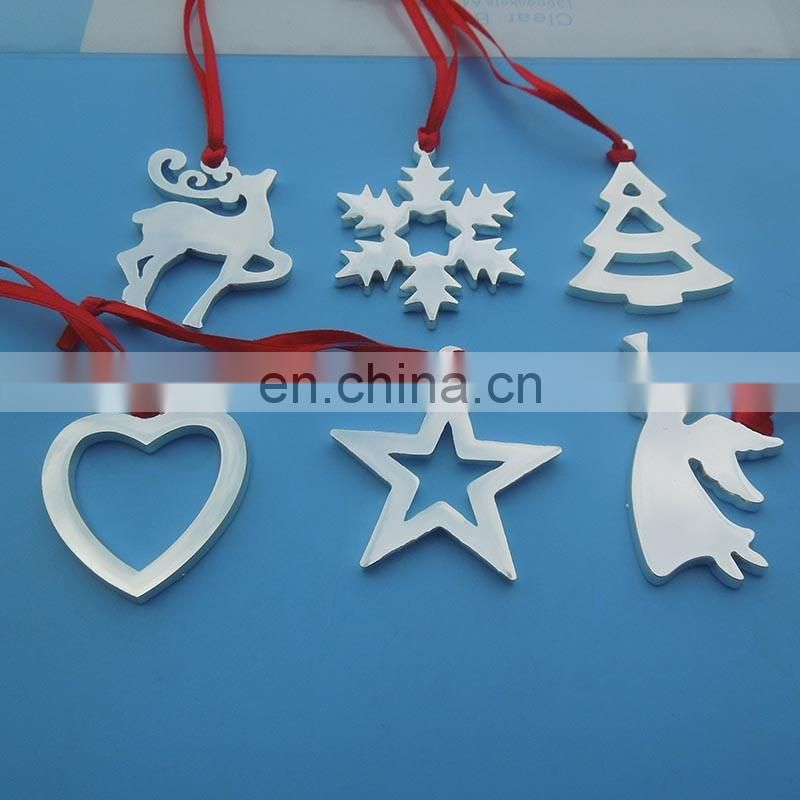 Metal Christmas Tree Shaped Tree Ornaments Hang Jewelry Charm Tags