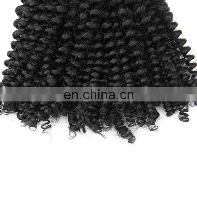 Top quality grade 7a human hair weaving remy virgin peruvian hair extensions black color kinky curly