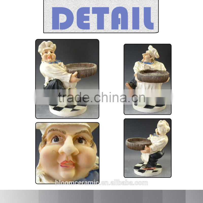 Decorative resin chefs figurines serving plate