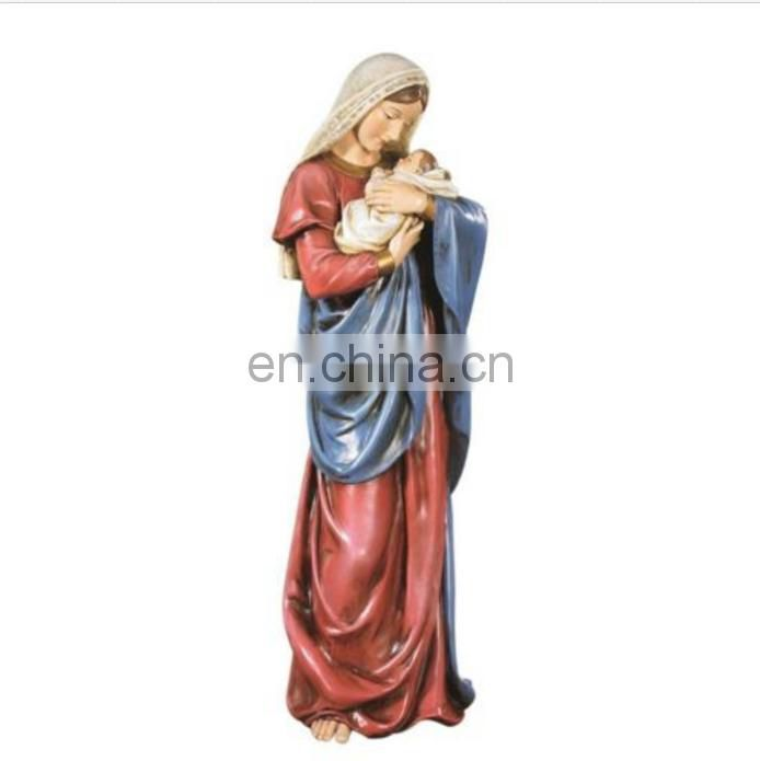 A Mother's Kiss Virgin Mary Infant Jesus Adoring Love 23 Inch Church Statue