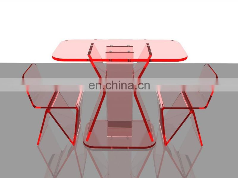 Fashion style clear red acrylic plexiglass furniture clear acrylic table and chairs