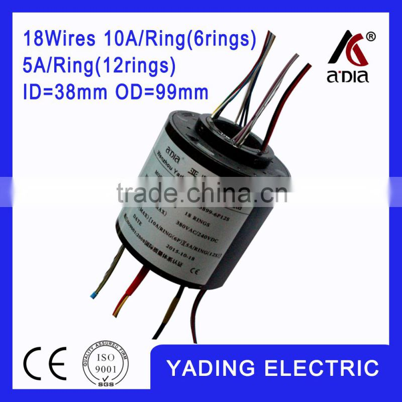 SRH 3899- 6p12s Through bore slip ring ID38mm. OD99mm.18Wires, 10A x6wires 5Ax12wires