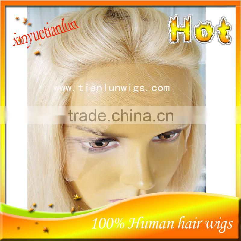 Wholesale Factory Price #60 Blonde Color Brazilian Virgin Human Hair Wig Full Lace Wigs For White Women